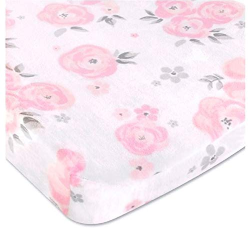Wendy Bellissimo Velboa Contoured Diaper Pad Cover for Diaper Changer (32x16x6) from The Savannah Collection - Floral Print in White, Pink & Grey
