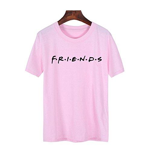 FCYOSO Teen Girl Funny Friends Print Graphic T-Shirt Women Cute Cotton Tops Large Pink