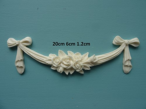 Decorative rose swag bow applique onlay furniture moulding RSB1 ()