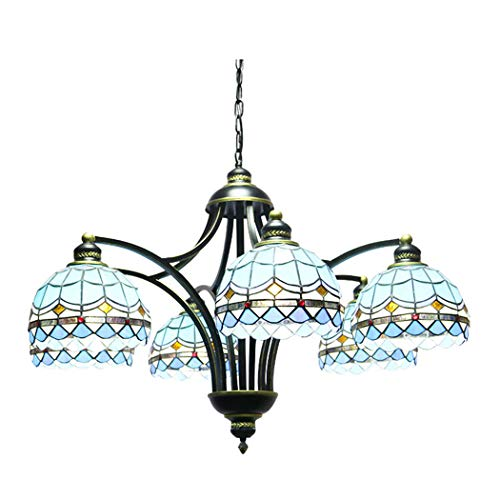 (YJFFAN Mediterranean Chandelier, Tiffany Pendant Lights Living Room Decoration Room Wrought Iron Hotel Engineering Lamp E27 (110-240V, Bulbs Not Included))