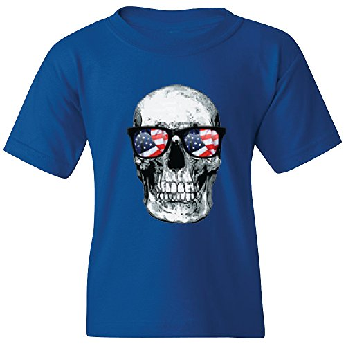 Amazing Items Skull With American Flag Sunglasses For Halloween And Day Of The Dead Unisex Youth's T-Shirt, X-Small, Royal - Horror Glasses Story American