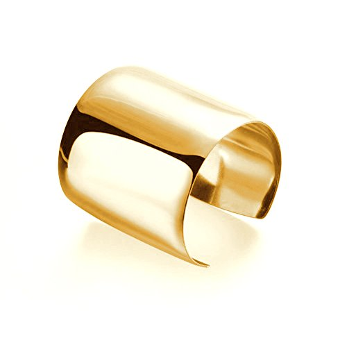 Carffany Women's Wide Cuff Bracelet Bangle in High Polished Stainless Steel (Yellow God)