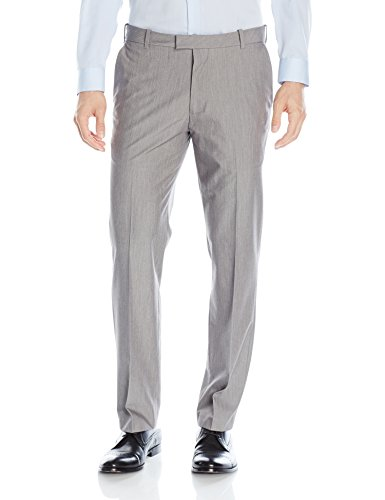 Van Heusen Men's Flex Straight Fit Flat Front Pant, Silver Grey, 42W x 30L ()