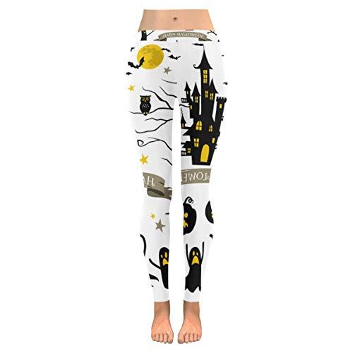 InterestPrint Halloween Ghost Custom Stretchy Capri Leggings Skinny Pants for Yoga Running Pilates Gym L for $<!--$23.99-->
