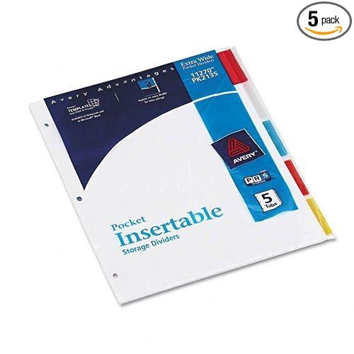 AVEPK2135 - WorkSaver White Pocket Dividers with 5 Multicolor Insertable Tabs, 1 Set (AVEPK2135) AVERY 11270