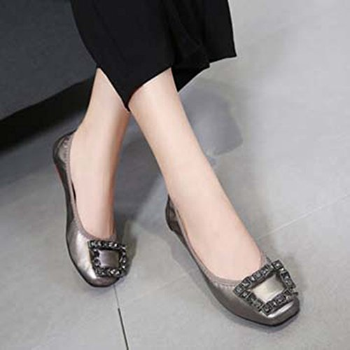 Color Flats Square Driving Foldable Loafer Toe Dress Gun Shoes On Slip Ballet Soft Buckle JINANLIPIN Women's Boat Yg0fq4na