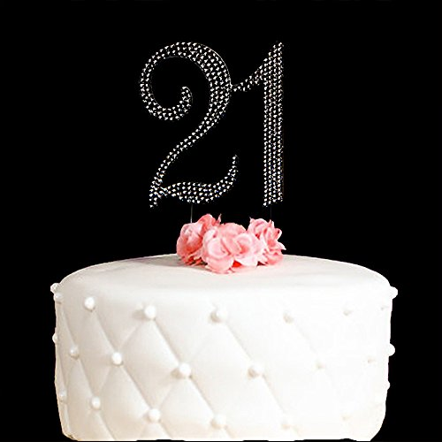 21-Cake-Topper-for-21-Years-Birthday-Or-21ST-Wedding-Anniversary-Silver-Crystal-Rhinestone-Party-Decoration-Silver