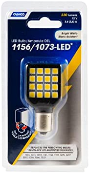 Camco 54610 1156//1073 Bright White Light LED Bulb with White Swivel Housing and Clear Lens