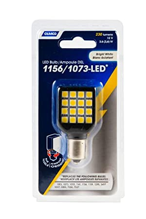 Camco 54610 1156//1073 Bright White Light LED Bulb with White Swivel Housing and Clear Lens 17696922