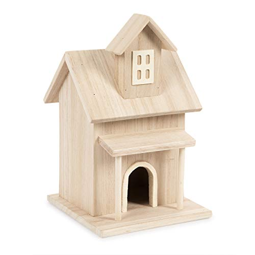 (Darice Birdhouse with Front Porch and a Dormer Window Wood Bird House, Multicolor)