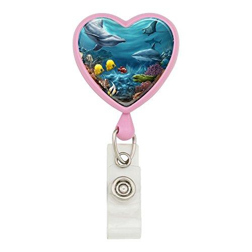 Coral Reef Ocean Scene Dolphin Turtle Shark Stingray Fish Heart Lanyard Retractable Reel Badge ID Card Holder - Pink