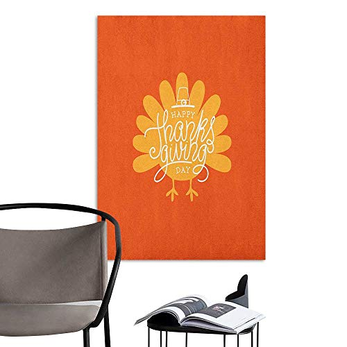 Stickers Wall Murals Decals Removable Turkey Thanksgiving Day Theme with Poultry Silhouette Autumn Season November Orange Mustard White Bedroom Wall W8 x -