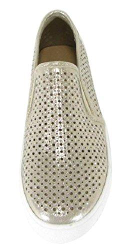 Cambridge Utvalda Womens Stängda Rund Tå Perforerad Geometriska Utklipp Glitter Kristall Strass Slip-on Flatform Mode Sneaker Guldskimmer