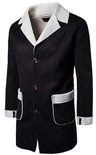 De Laine Hommes En Black Pour À Vêtements Kangqi Manches Manteau Longues Décontractée q8vwa