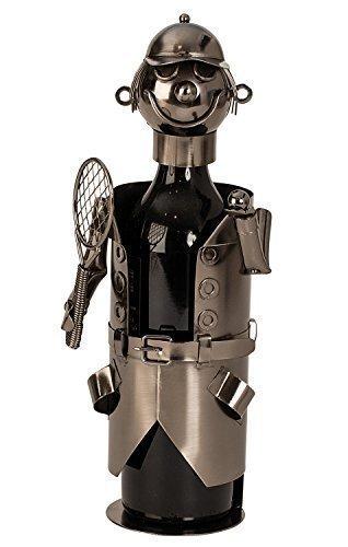 Moderner Wein Flaschenhalter Tennisspieler aus Metall H/öhe 32 cm