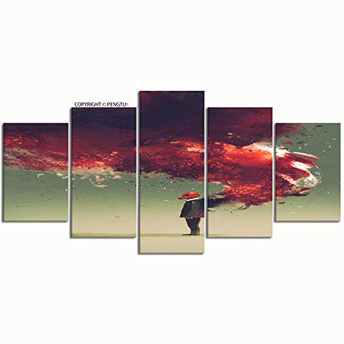 PENGTU Paintings Modern Canvas Painting Wall Art Pictures 5 Pieces Gas mask Man Standing fire Flame Wall Decor HD Printed Posters Frame