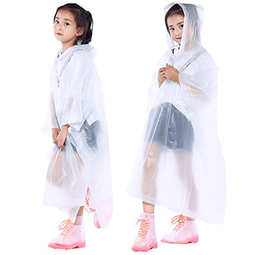 (PERTTY 2 Pcs Kids Rain Ponchos Reusable Raincoats Portable Rain Wear with Hat Hood Unisex for 6-12 Years Old Children (White))