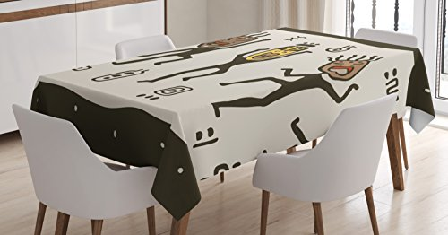 (Ambesonne Primitive Tablecloth, Cartoon Dancing Natives Wearing Tribal Masks Prehistoric Print, Dining Room Kitchen Rectangular Table Cover, 60