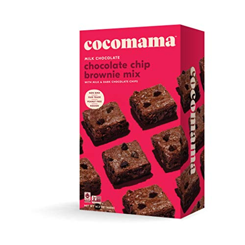 Cocomama Milk Chocolate Chip Brownie Mix - Triple Chocolate Baking Mix, Milk & Dark Chocolate Chips, Organic Fair Trade Cocoa Powder, Non GMO, Kosher, 16.2 oz