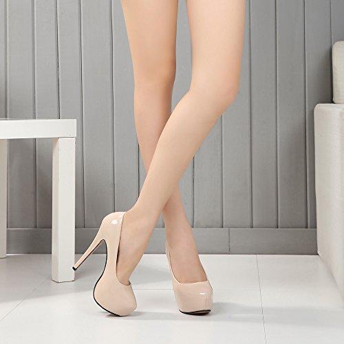 Scarpe Velvet Beige Pu Piattaforma Donna col OCHENTA Tacco 06EwxEa
