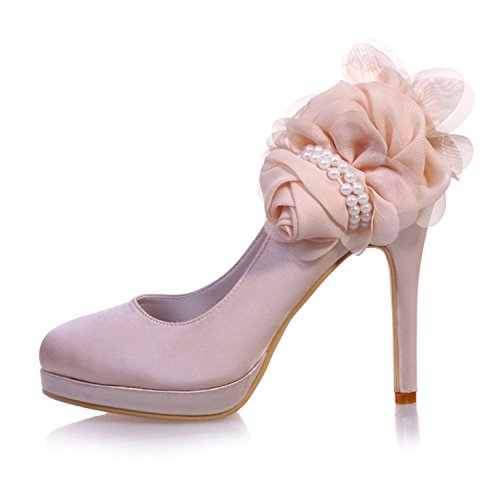 Satin Party With High Wedding Szxf6915 Women's Almond Blue Court Pearls Shoes 07 Flower Toe Sarahbridal Heel 8YUFqxx
