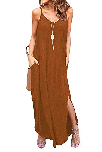 - Donnalla Womens Summer Casual Loose V-Neck Dress Spaghetti Strap Sleeveless Split Maxi Dresses(Brown X-Large)