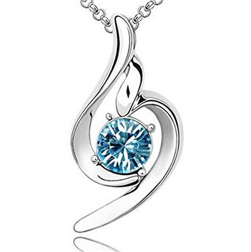 - Fashion Womens Angel Sky Blue Crystal Rhinestone Silver Chain Pendant Necklace