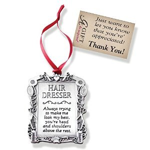 Super Hairdresser - Hair Stylist - Pewter Christmas Ornament - Thank You Gift - Ribbon Hanger - Beautician