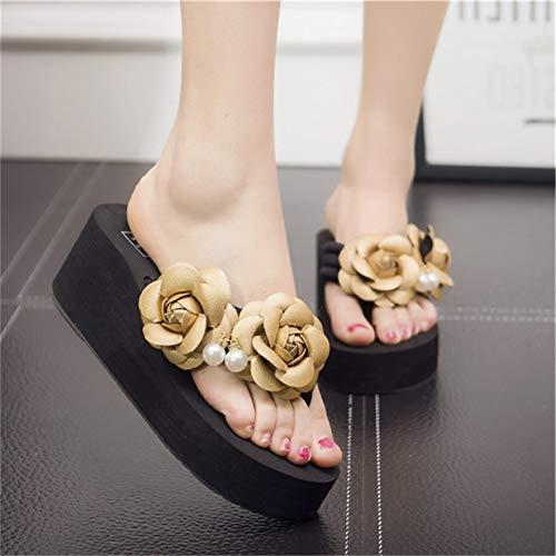 Compensées 41 Or 1854 forme Femmes Pantoufles Tongs Banbie8409 Pour Chaussures Mode D'extérieur D'été 1877 Plate Décontractées 68qwH8