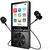 Aniee 16GB MP3 Player with Bluetooth, Hi-Fi Lossless Sound Music Player with Armband Earphone, 2.4-inch Color Screen, Expandable Up to 128GB, Black