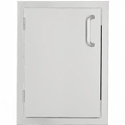 Mounted Drawers Single Flush (BBQGuys.com Kingston Series 14-inch Stainless Steel Left-hinged Single Access Door - Vertical)