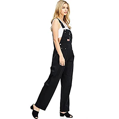 Revolt Women's Juniors Baggy Straight Leg Twill Overalls: Clothing
