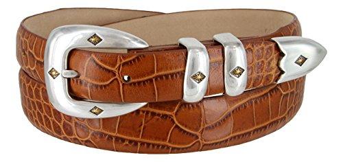 Tuscon Gold Genuine Italian Calfskin Leather Designer Dress Golf Belt for Men(Alligator Tan, 38)