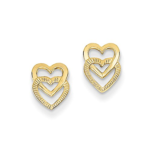 Small Stacked Open Hearts Post Earring in 14k Yellow (Double Heart Post Earrings)