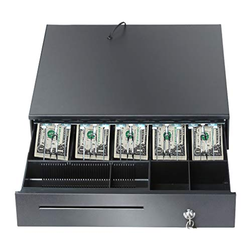 Cash Register Drawer for Point of Sale (POS) System with Removable Coin Tray, 5 Bill/6 Coin, 24V, RJ11/RJ12 Key-Lock, Media Slot/16 x 16 x 4 inches