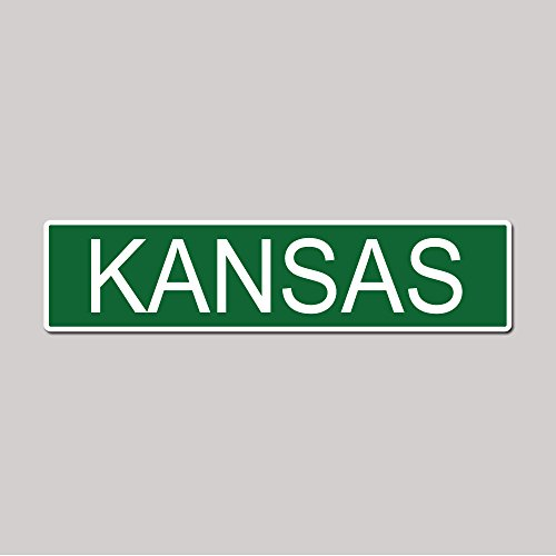 KANSAS State Pride Green Vinyl on White - 4X17 Aluminum Street - Plaza Kc