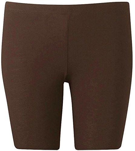 Nuovo donna plus size sopra del ginocchio Plain Jersey Pantaloncini da ciclista 44–54 marrone 52/54