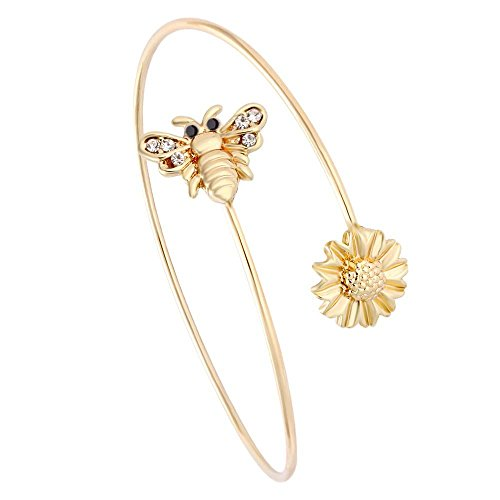 SENFAI Latest Tiny Bee and Flower Adjustable Charm Bracelet Bangles Women Jewel
