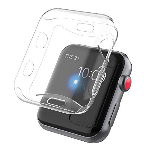 OUPODE (2 Pack Compatible Apple Watch Case 42mm 38mm,Flexible and Soft TPU Compatible Apple Watch Screen Protector and Protective Watch Case Compatible Apple Watch Series 3 & Series 2 (38mm)