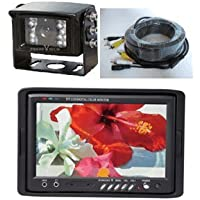7 Color TFT LCD Monitor and CCD Rear View Backup Camera with 120° View and Night Vision, Can Hook Up Up to 3 Cameras with Auto Switching. by YanTech USA
