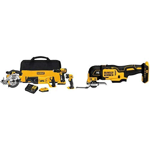 DEWALT DCK423D2 20V MAX 4-Tool Combo Kit with DCS355B 20V XR Oscillating Multi-Tool (Tool Only)