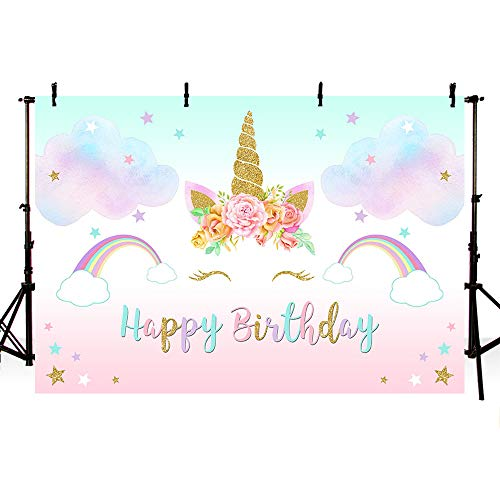 MEHOFOTO Sweet Dreamy Unicorn Themed Rainbow Colorful Photo Studio Booth Background Props Flowers Gold Stars Cloud Princess Girl Happy Birthday Banner Watercolor Photography Backdrops 7x5ft ()