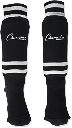 Champion Sports Youth Sock Style Soccer Shinguards – Ages 6-8 (Black)