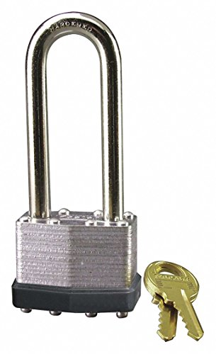 Different-Keyed Padlock, Extended Shackle Type, 2-1/2'' Shackle Height, Silver- Pack of 5 by Unknown (Image #1)