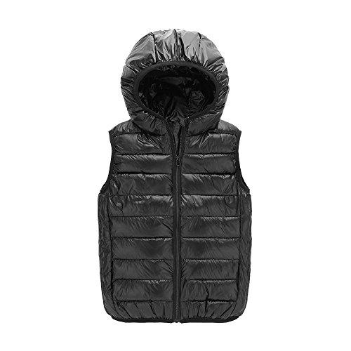 Hooded Waistcoat - UGREVZ Children Girls Vest Hooded Waistcoats for Boy Outerwear(S005Black-8T)