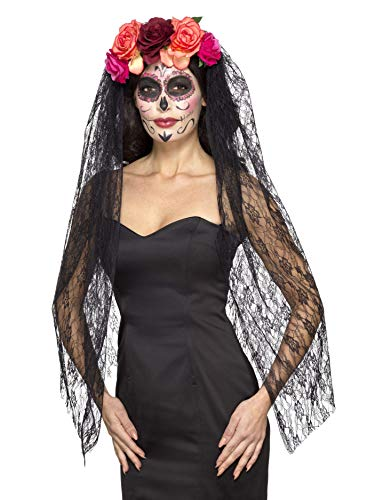 Smiffys 44963 Deluxe Day of The Dead Headband, Red/Black, One Size