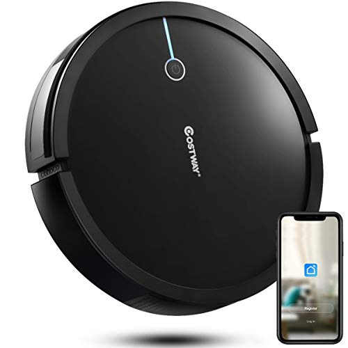 Costway Robot Vacuum, Smart 2000Pa Strong Suction Cleaner, App Controls & WiFi-Connected, HEPA Filter, Super Quiet Self-Charging Robotic Vacuum Cleaner for Pet Hair, Hard Floor & Thin Carpet(Black)