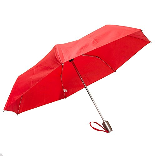 42 Inch Mini Folding Umbrella - Totes Auto Open Auto Close Umbrella w/ Grey Handle (Red)