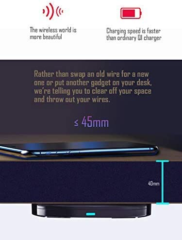 ZeePower Invisible Wireless Charger,45millimeter Long Distance Under Table Charging Qi Certified for iPhone Galaxy Huawei Xiaomi (NOTE This product must use Magnetic Patch to work properly!)