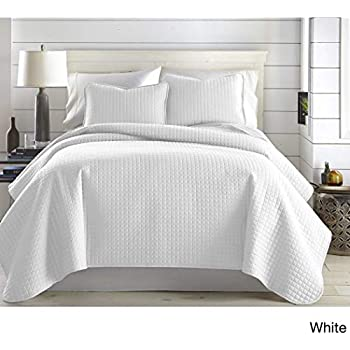 Amazon Com 3pc Oversized Bright White King Cal King Quilt